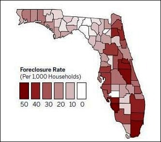 Florida County by County Foreclosure Map